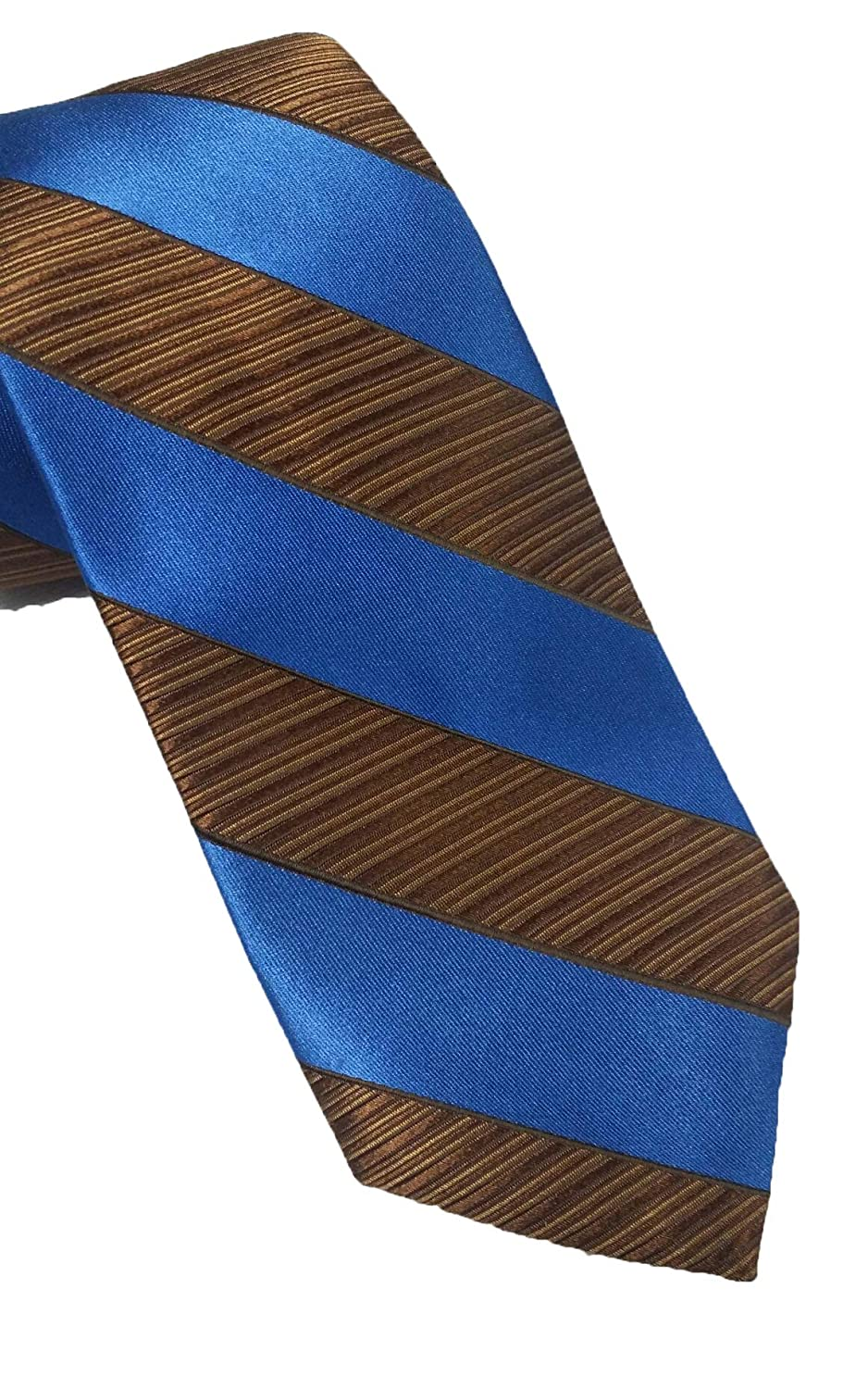 Robert Talbott French Blue and Brown Wide Stripe Best of Class Tie
