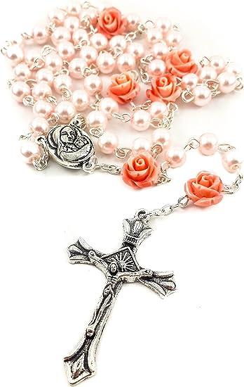 Rosario con Cuentas de Perlas Rosadas Católicas