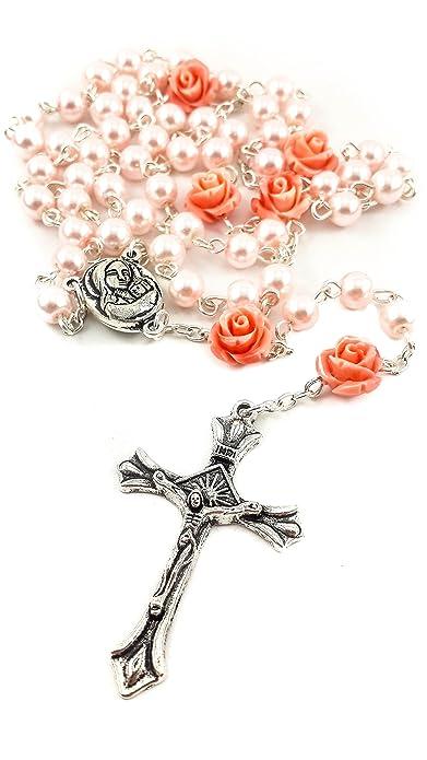 c26f5dd0d2ec Collar de Rosario con Cuentas de Perlas Rosadas Católicas Nuestra Rosa