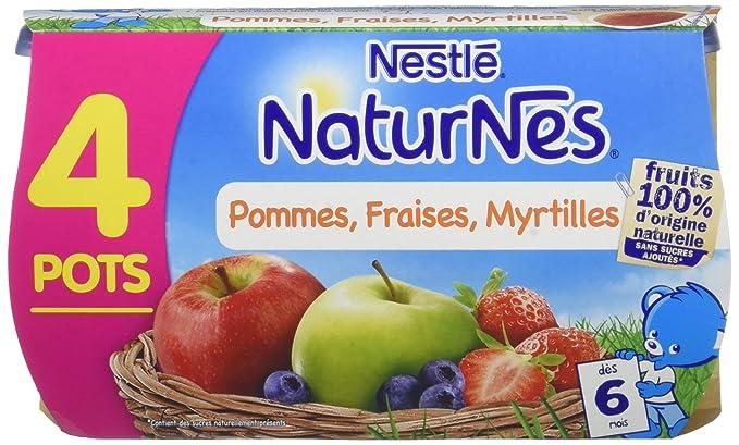 28fa364461ac0 NESTLE NATURNES Compotes Bébé Pommes Fraises Myrtilles -Lot de 4 -Dès 6 mois