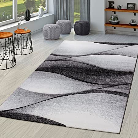 Modern Living Room Rug Abstract wave Design Contour-Cut Anthracite Grey,  Size:80x150 cm