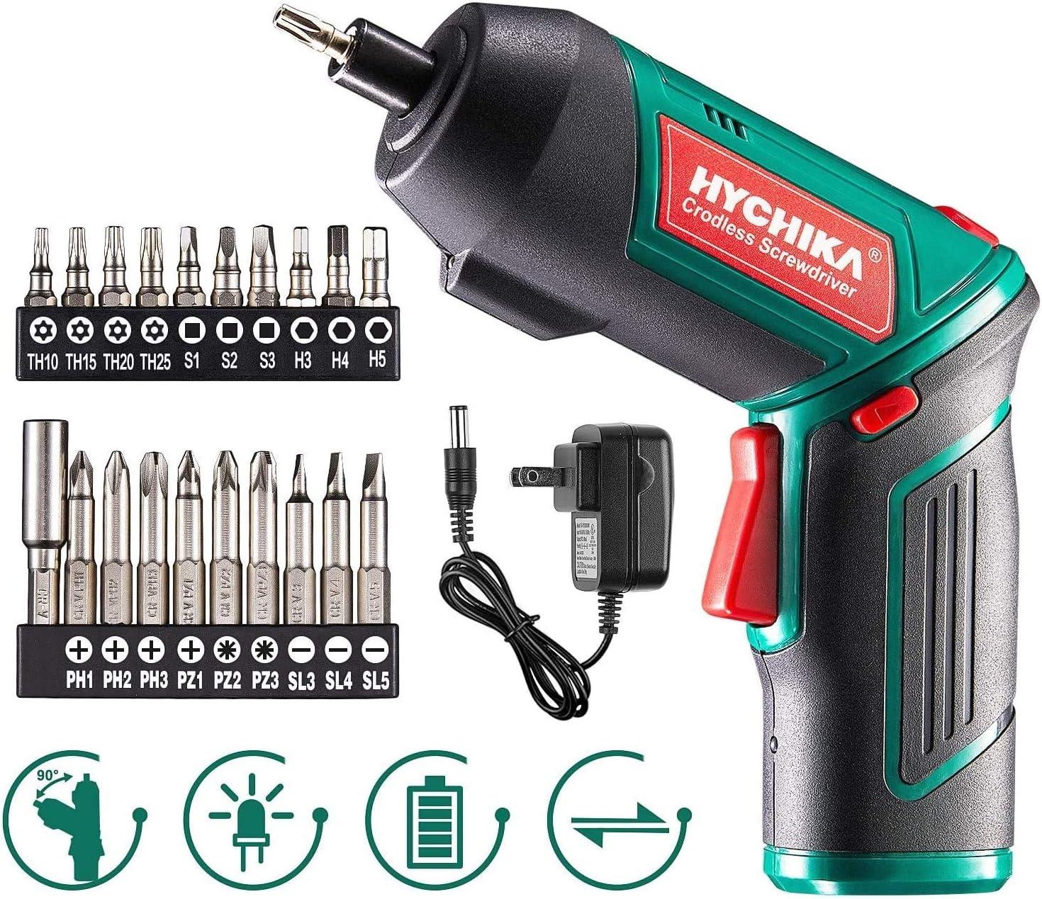 Destornillador Eléctrico 6N.m, HYCHIKA Atornillador Eléctrico Inalámbrico 3.6v Batería 2000mAh (Máximo Par 6 N.m) LED Luz, Mandril Magnético, Cargador con Cable 3.5mm, 20 Accesorios