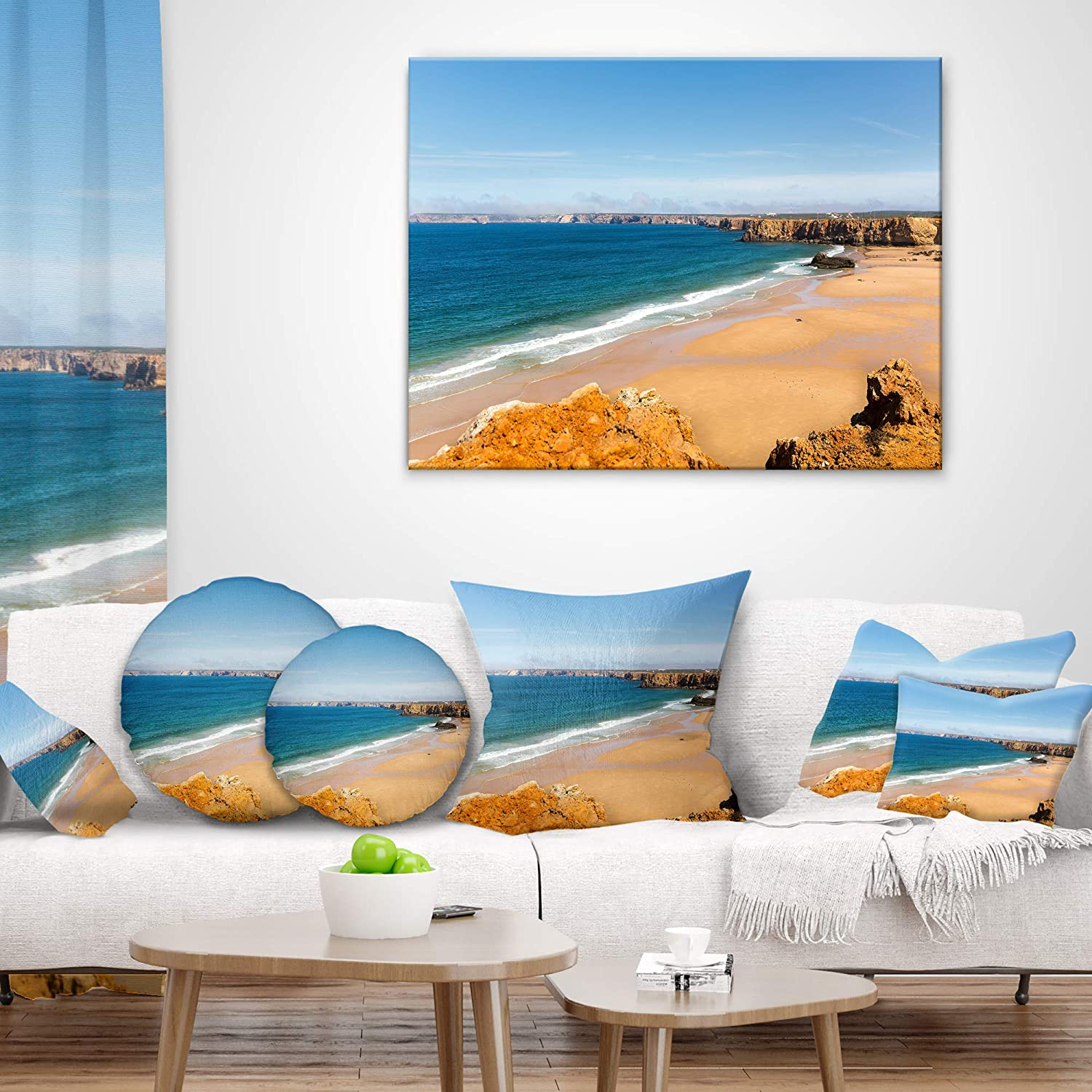 in Designart CU11110-26-26 Serene Rocky Bay Portugal Seashore Cushion Cover for Living Room x 26 in Sofa Throw Pillow 26 in Insert Printed On Both Side