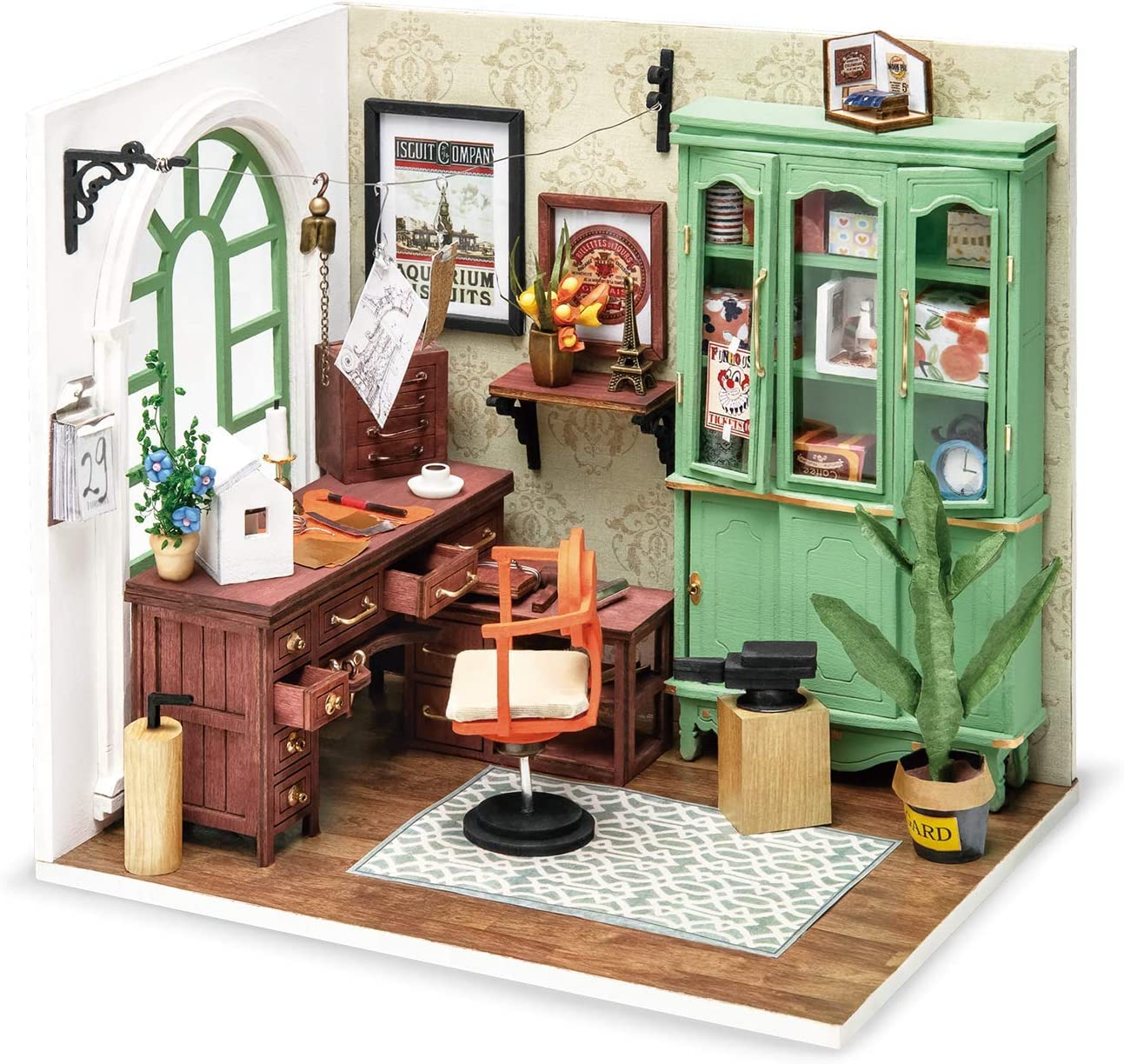 ROBOTIME Dollhouses Miniatures with Furnitures DIY Wooden Room Kit Mini Building Kits for Adults - Jimmy's Studio