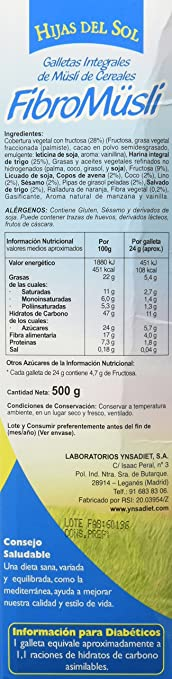 Hijas Del Sol Galletas Integrales de Muesli de Cereales, con Chocolate - 500 gr: Amazon.es: Alimentación y bebidas