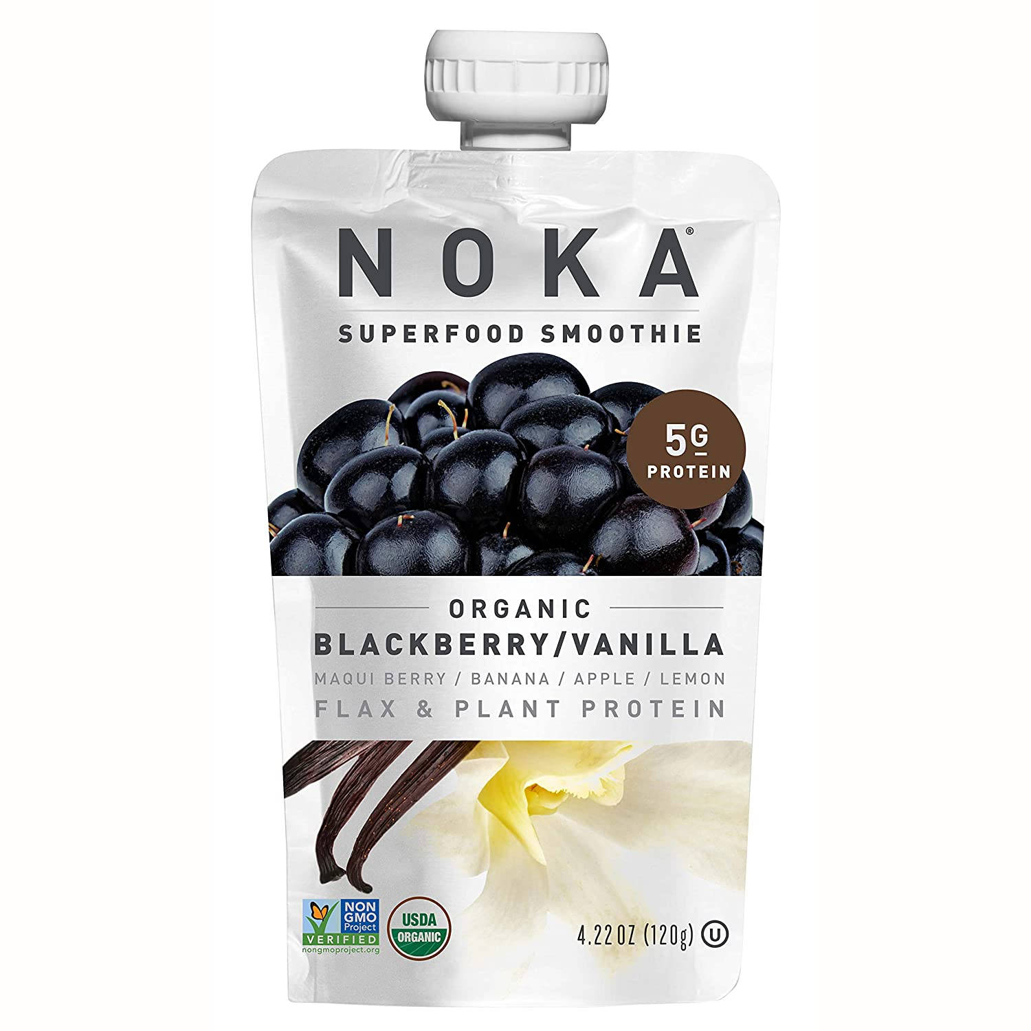 NOKA Superfood Smoothie Pouches (Blackberry Vanilla) 6 Pack | 100% Organic Healthy Fruit And Veggie Squeeze Snack Packs | Meal Replacement | Non GMO, Gluten Free, Vegan, 5g Plant Protein | 4.2oz Each