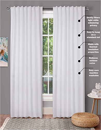 window panels set of 2,Cotton Curtains inTextured fabric 50×96 -White,Farm House Curtain,Tab Top curtains,Room Darkening Drapes,Curtains For Bedroom,Curtains For Living Room,Curtains Set of 2