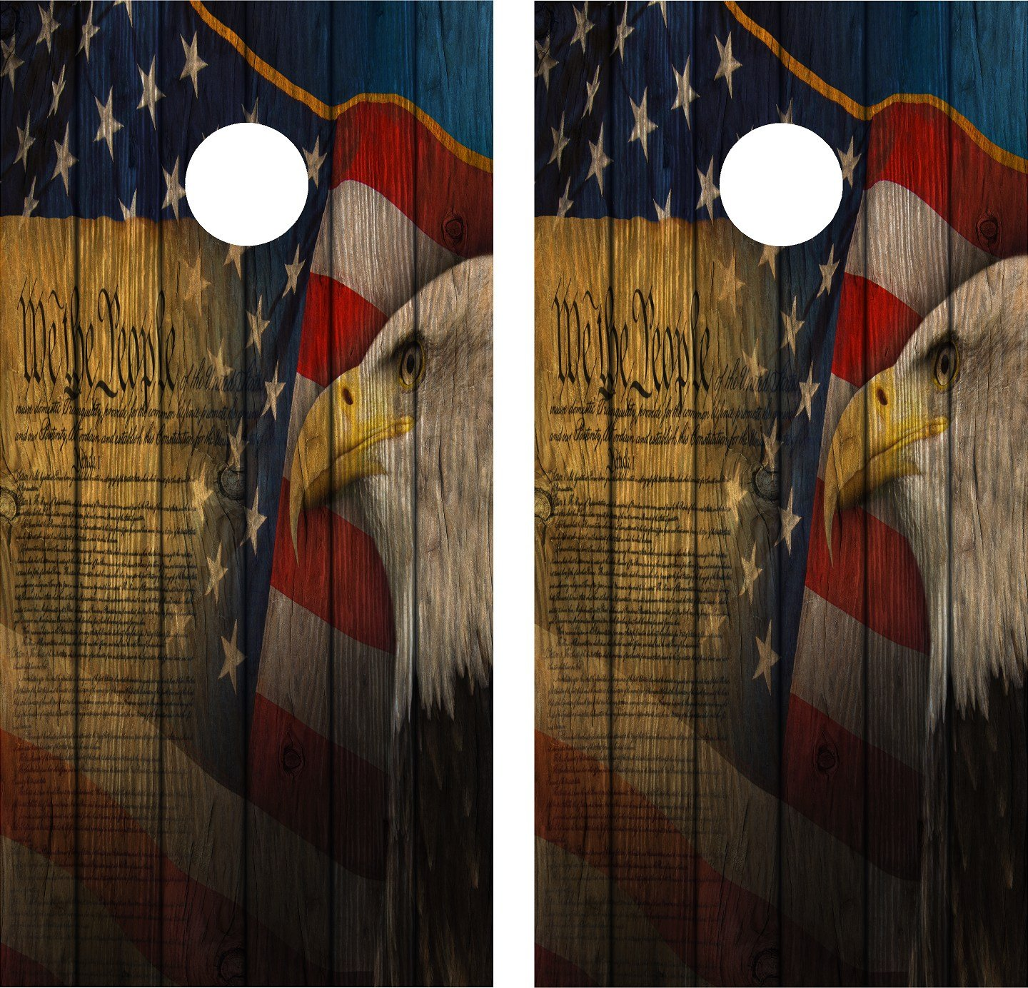 Cornhole Wrap Decal We The People Gun Rights Weathered Wood Laminated Includes 2 Decals by avgrafx