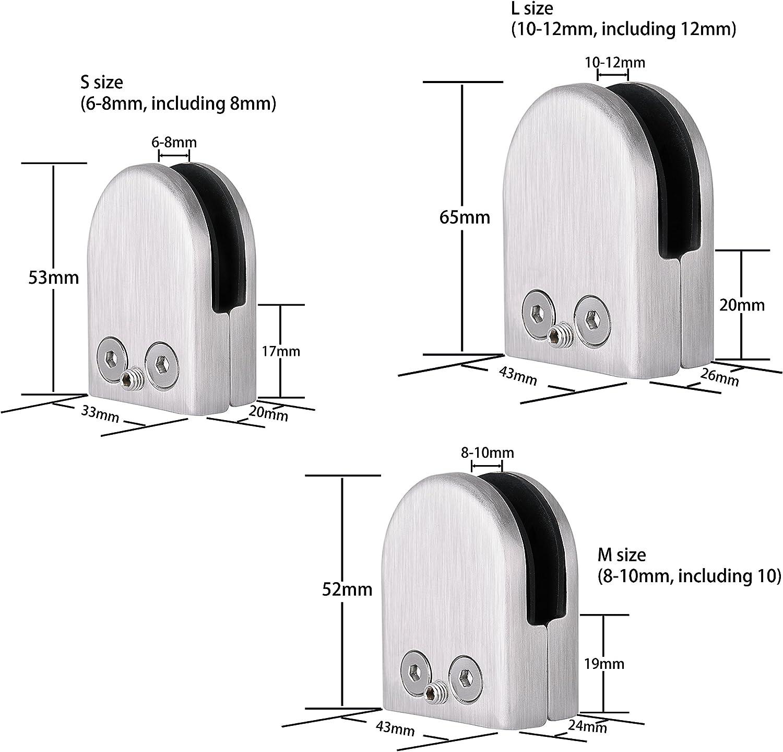 Wolfteeth 10-12MM Pince /à Verre Lot de 12 pi/èces Fixation en acier inoxydable L