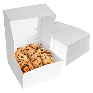 Stock Your Home 8 x 8 Inch White Bakery Box with Viewing Window (25 Count) - Small Cake Box - Cookie Box with Auto Pop Design - Pastry Box with Window for Displaying Cupcakes, Muffins, Cakes, Pie
