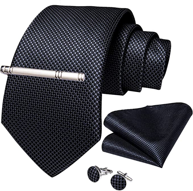 Zcaosma Mens Tie Golden Solid Jacquard Woven Silk Necktie Cufflink Set For Business Wedding Party With Gift Box
