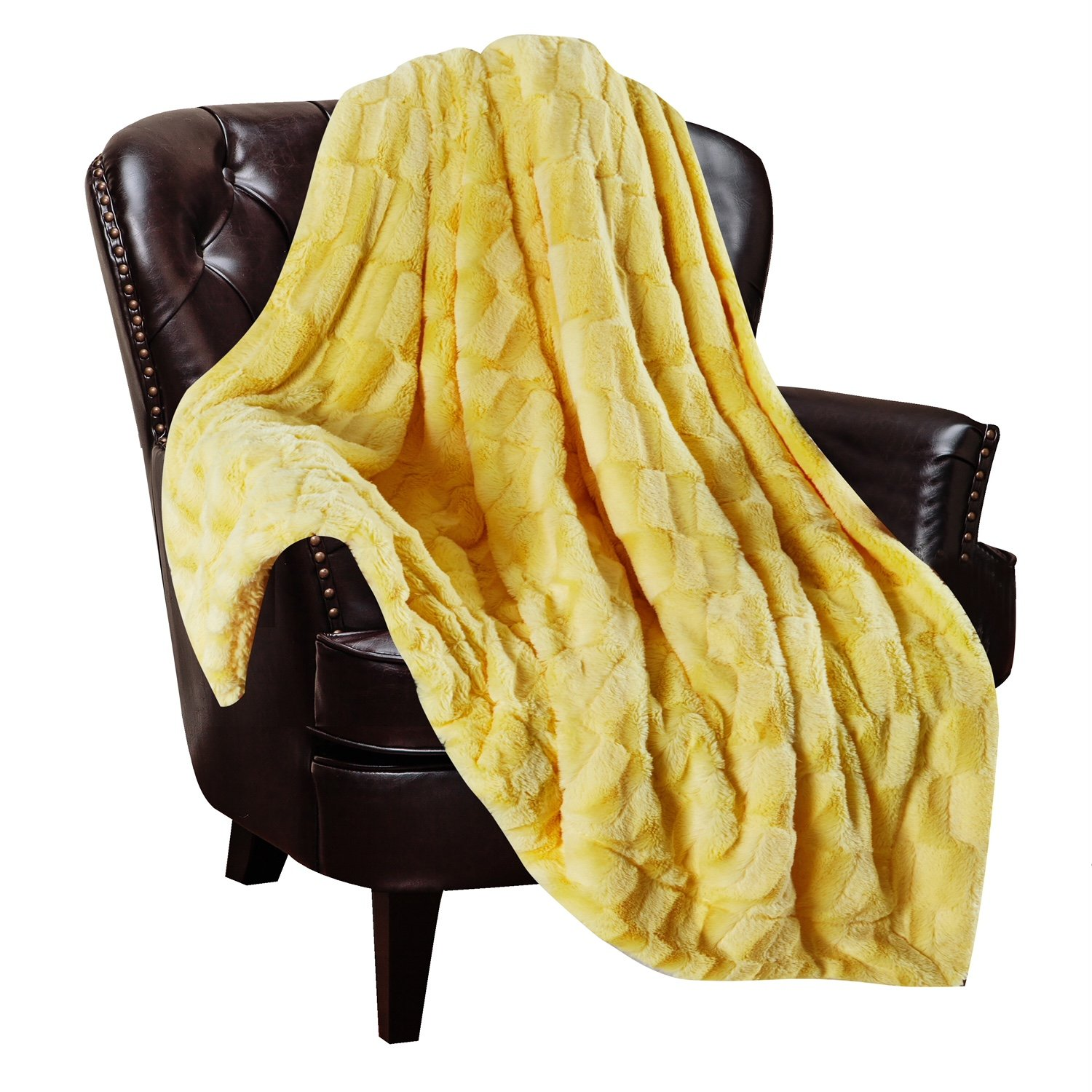 Chanasya Super Soft Fuzzy Faux Fur Elegant Rectangular Embossed Throw Blanket | Fluffy Plush Sherpa Microfiber Sunny Yellow Blanket for Bed Couch Living Room Fall Winter Spring (50'' x 65'') - Yellow