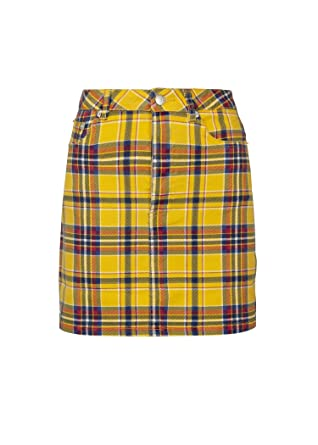 ca6f11bdbe Womens Yellow Plaid Tartan Punk Rock Mini Skirt at Amazon Women's ...