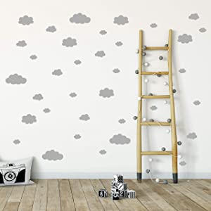 Vieli Arte Grey Clouds Wall Vinyl Decal Decor Nursery. Adhesive Cloud Stickers for Kids. Baby Nordic nubes Bedroom Decoration. (Grey)