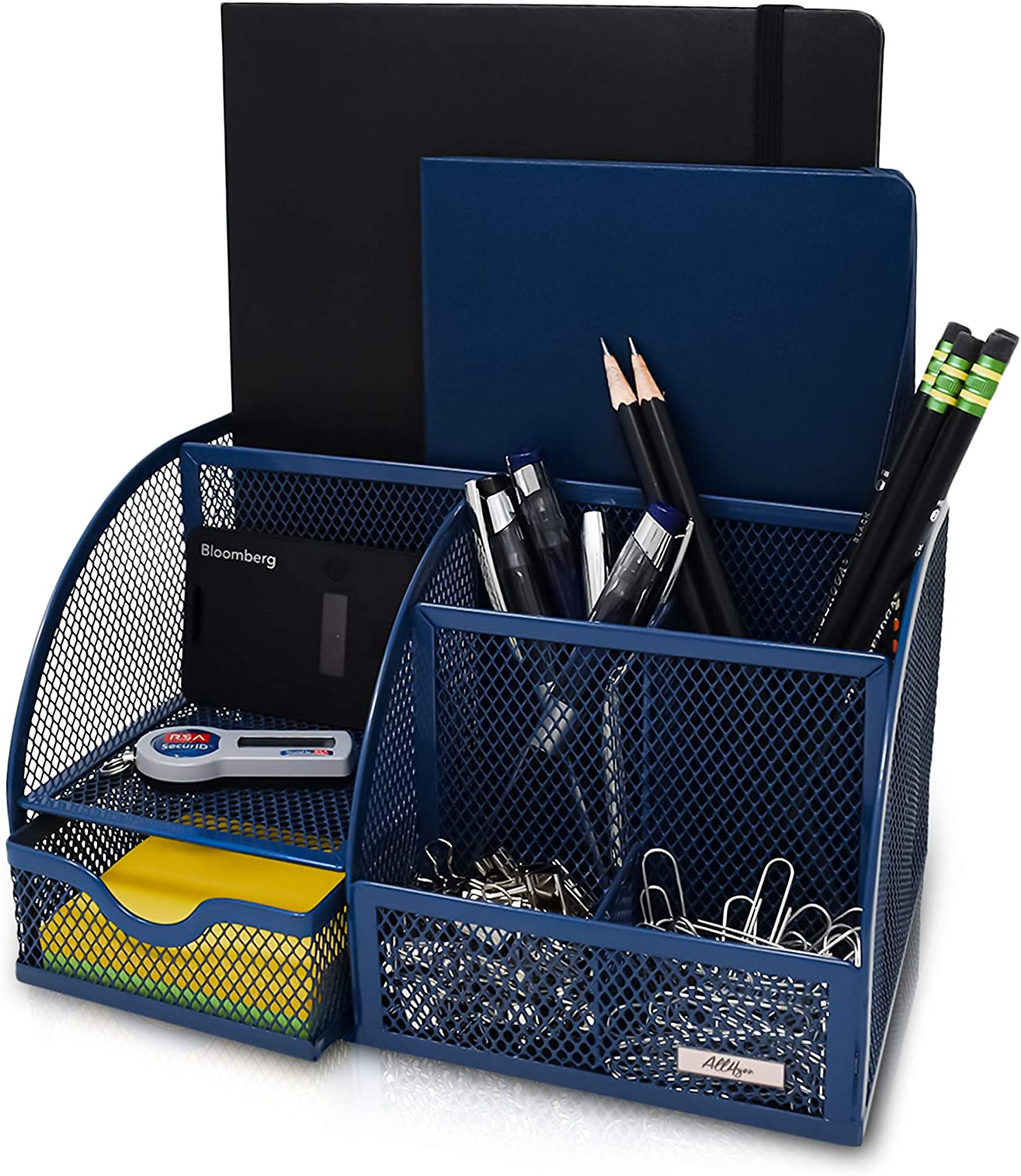 Desk Organizer All4You. Multi-Functional Mesh Desktop Organizer. Includes 6 compartments and a Drawer to Organize Desk Accessories, Mail, Pens, Tablets, Notebooks, and Office Supplies (Navy Blue)