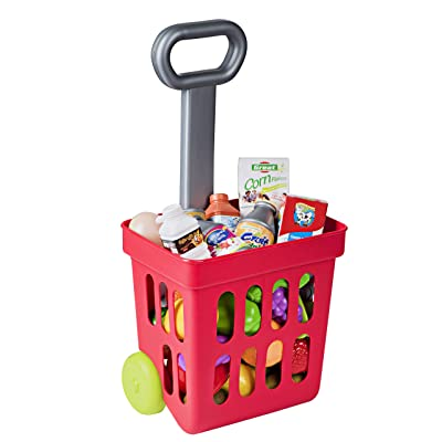 Playkidiz Mini Shopping Cart - Fill and Roll Grocery Basket - 24 Piece Small Toy Shopping Basket and Pretend Food Playset - Grocery, Kitchen and Plastic Food Toys for Toddlers - Size 17 x 8 x 6: Toys & Games