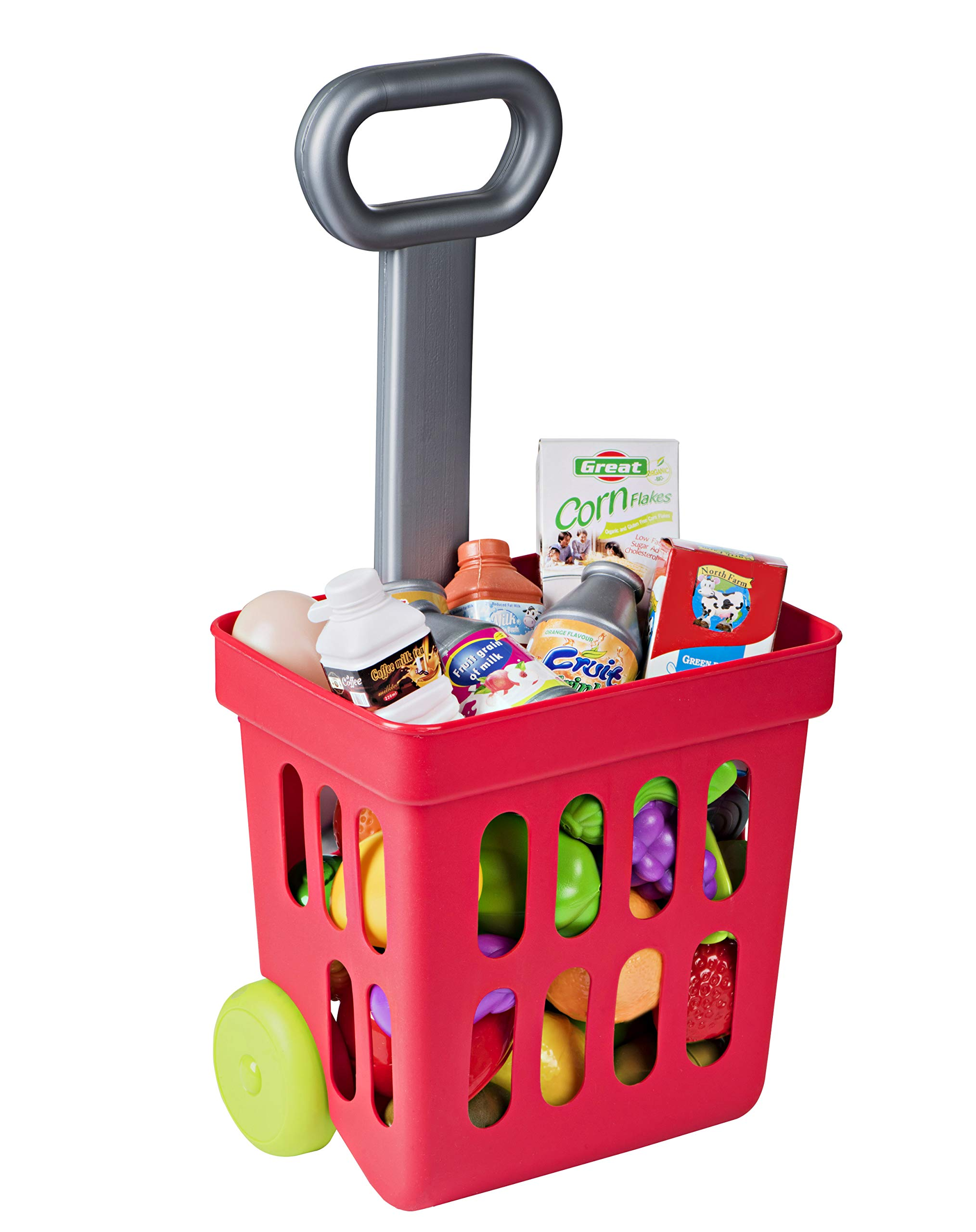 Playkidz: Shopping Cart, Fill and Roll Grocery Basket - 24 Piece Toy Shopping Basket and Pretend Food Playset - Grocery, Kitchen and Plastic Food Toys for Toddlers Age 3 Years and Up by Playkidz