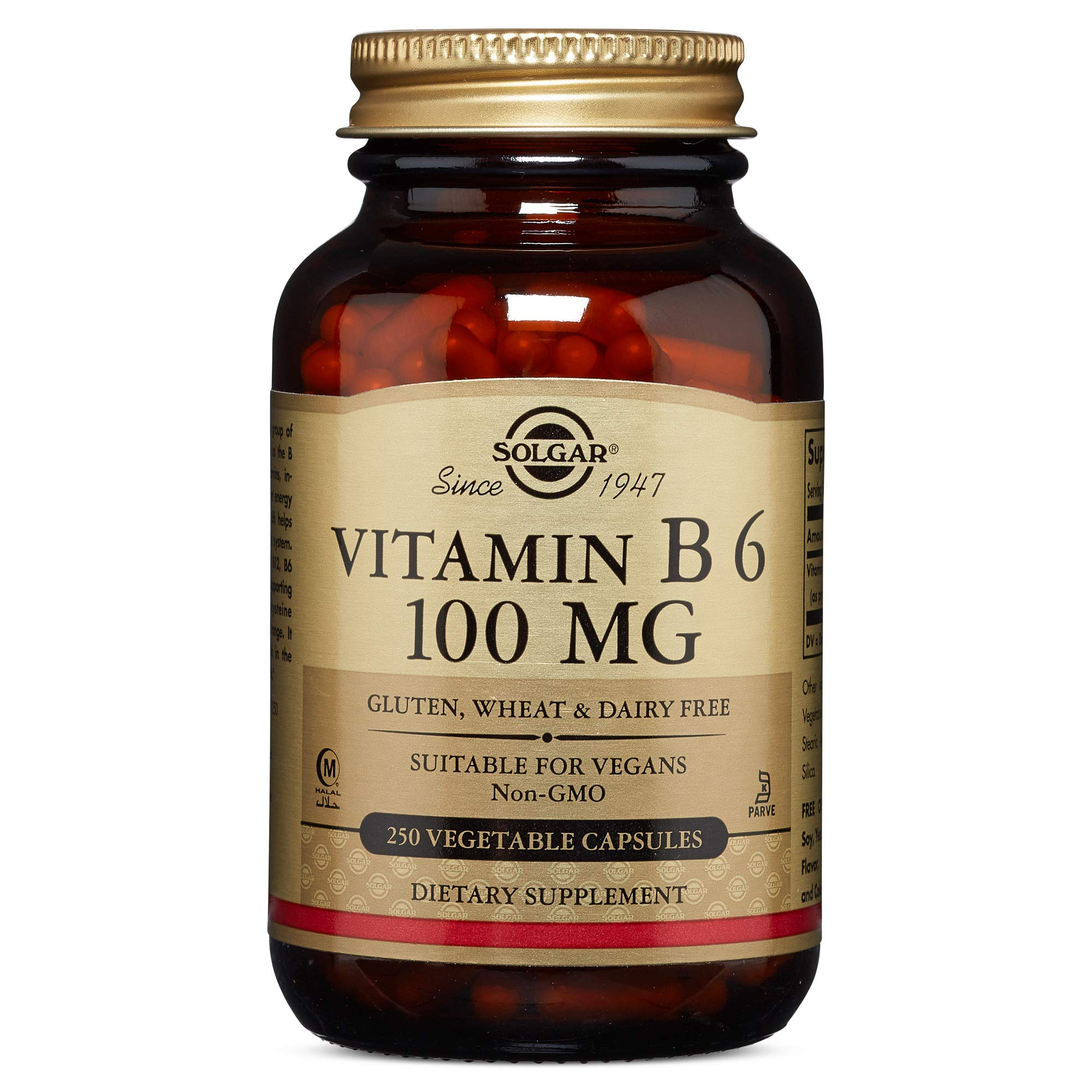Solgar - Vitamin B6, 100 mg, 250 Vegetable Capsules by Solgar
