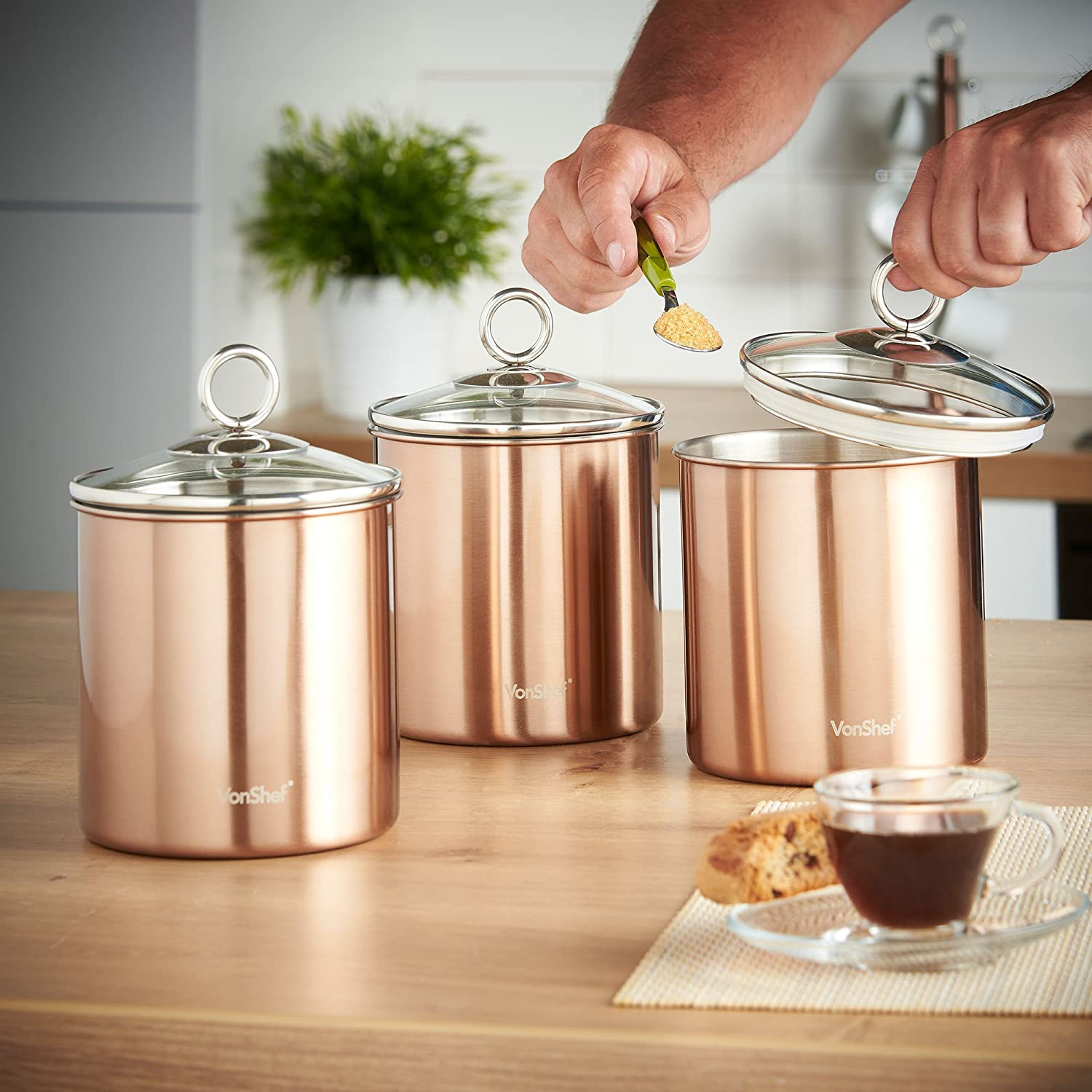 amazon com vonshef set of 3 copper tea coffee sugar canisters amazon com vonshef set of 3 copper tea coffee sugar canisters kitchen storage jars with glass lids stainless steel kitchen dining