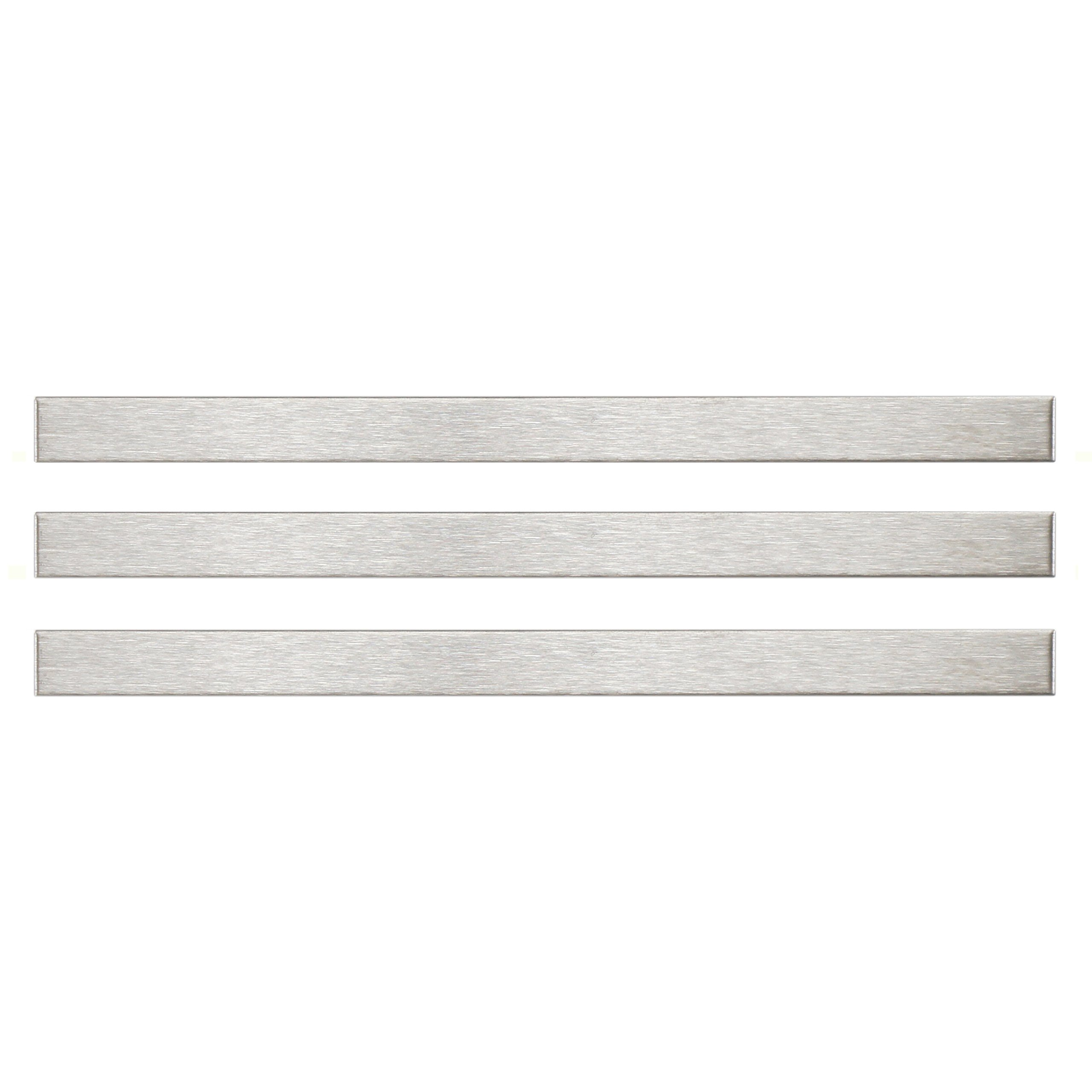 Allia Stick 3/8 x 5 3/4 Inch Stainless Steel Over Porcelain Wall Trim Tile (3 Pcs, .3 Sq. Ft. Per Case)