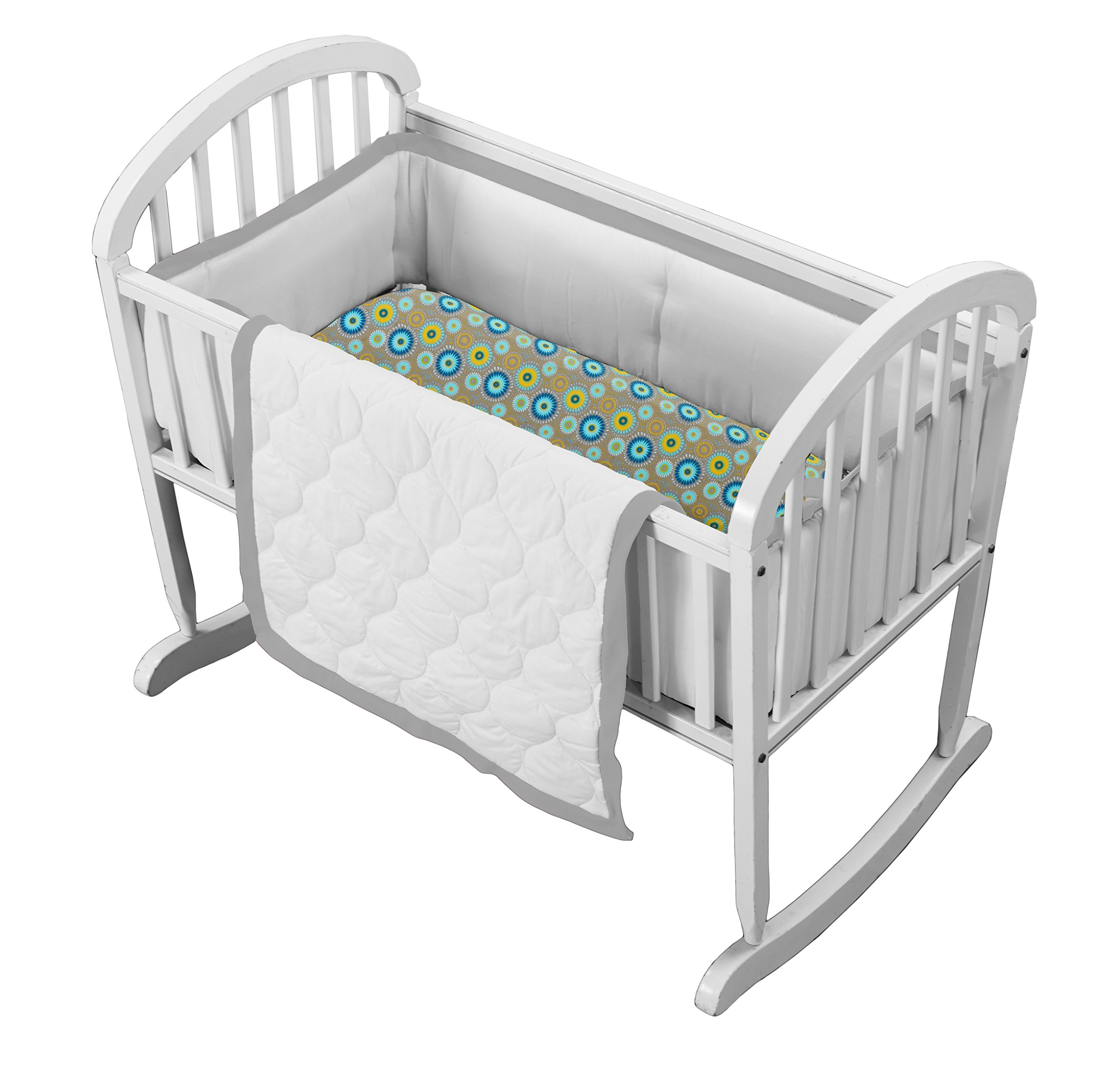 Baby Doll Medallion 3 Piece Cradle Bedding Set, Grey