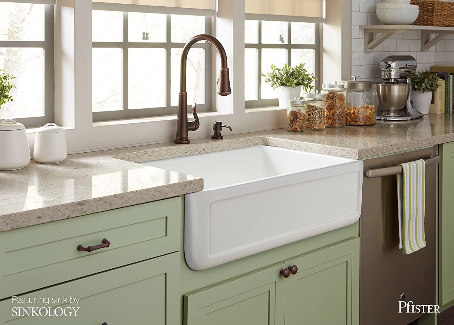 Pfister Ashfield 1-Handle Pull-Down Kitchen Faucet with Soap ...