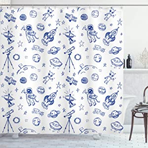 Ambesonne Sketchy Shower Curtain, Original Outer Space Featured Celestial Planetary Solar System Properties Graphic, Cloth Fabric Bathroom Decor Set with Hooks, 75