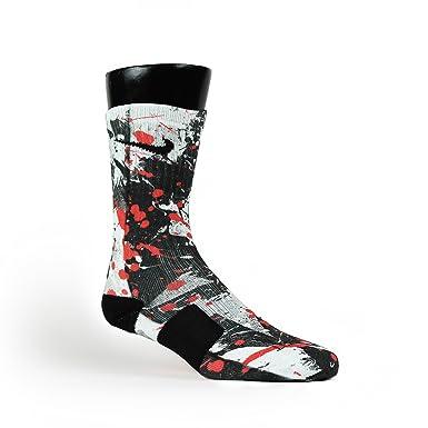 buy popular 6b429 c01ed HoopSwagg Sneaker Art Custom Elite Socks at Amazon Men s Clothing store