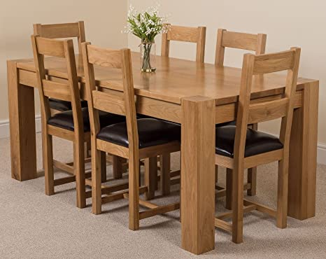 Magnificent Kuba 6 Seater Dining Table And Chairs 6Ft Chunky Solid Oak Dining Table And 6 Chairs 180 X 90 Cm Large Oak Dining Set With 6 Brown Lincoln Oak Squirreltailoven Fun Painted Chair Ideas Images Squirreltailovenorg