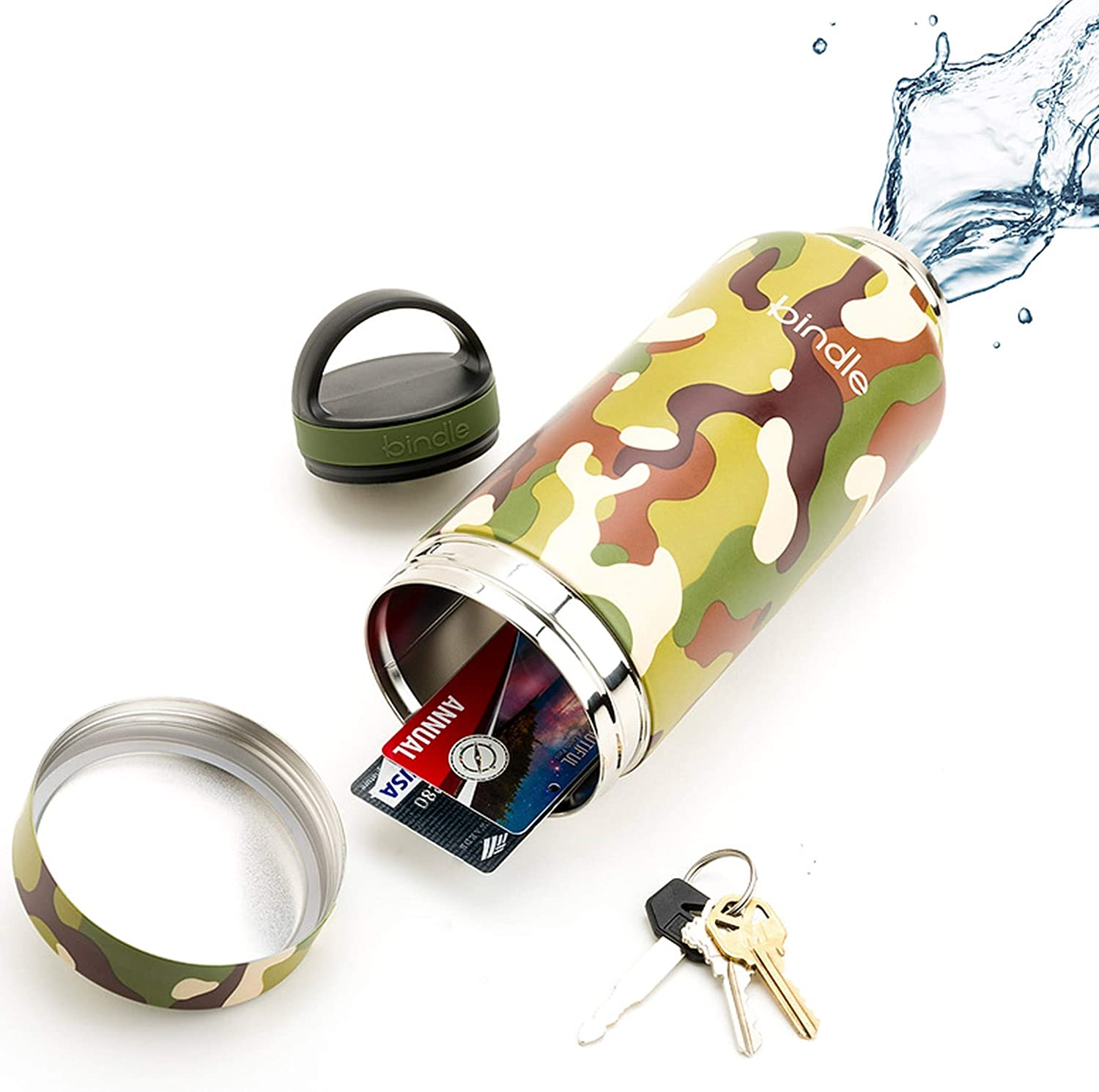 Bindle Bottle 24oz Green Camo   Stainless Steel Double Walled & Vacuum Insulated Water Bottle with Storage/Stash Compartment   Drinks Stay Cold for 24 Hours, Hot for 12