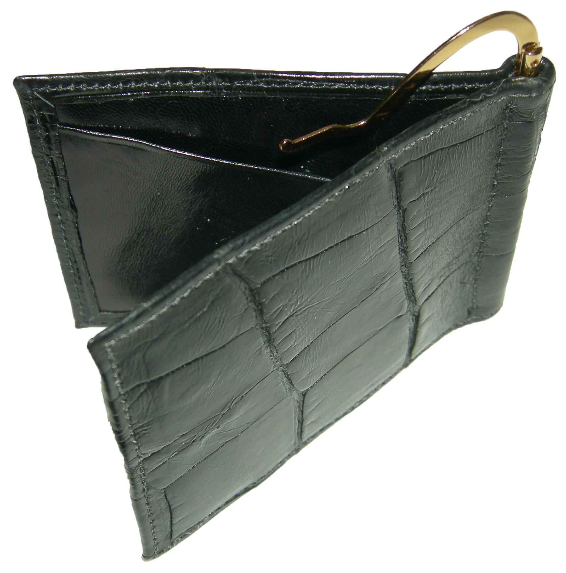 Sultan Genuine Alligator Men's Money Clip Wallet - Black Safari (Semi-Gloss) - One Size