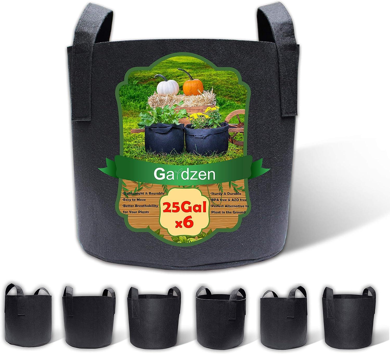 Gardzen 6-Pack 25 Gallon Grow Bags, Aeration Fabric Pots with Handles