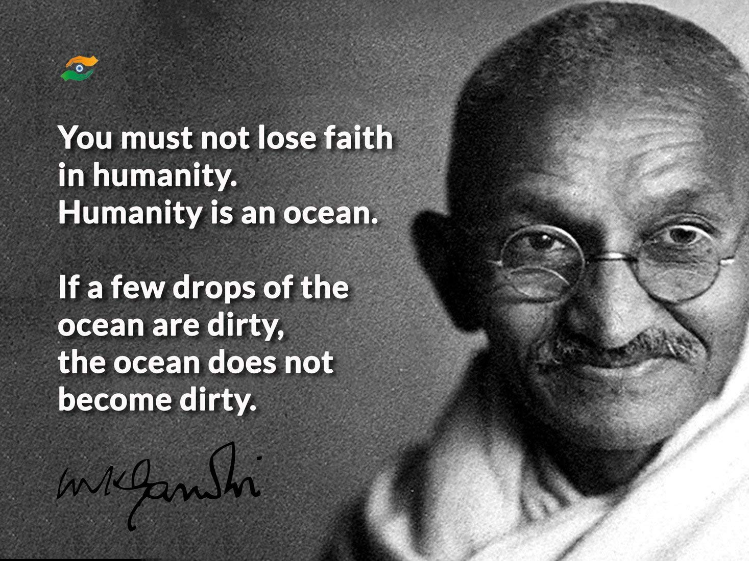 tallenge humanity is an ocean mahatma gandhi quote medium poster