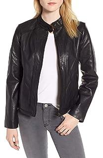 Amazon.com: Chaqueta de piel para mujer, para motocicleta ...