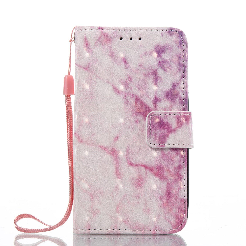 Prechkle Funda Cubierta de Teléfono iPhone 6/6s Cuero Premium con Pintura Colorida en 3D Anti Golpes y Billetera con Ranura para Tarjetas, Cierre Magnético(Blanco).