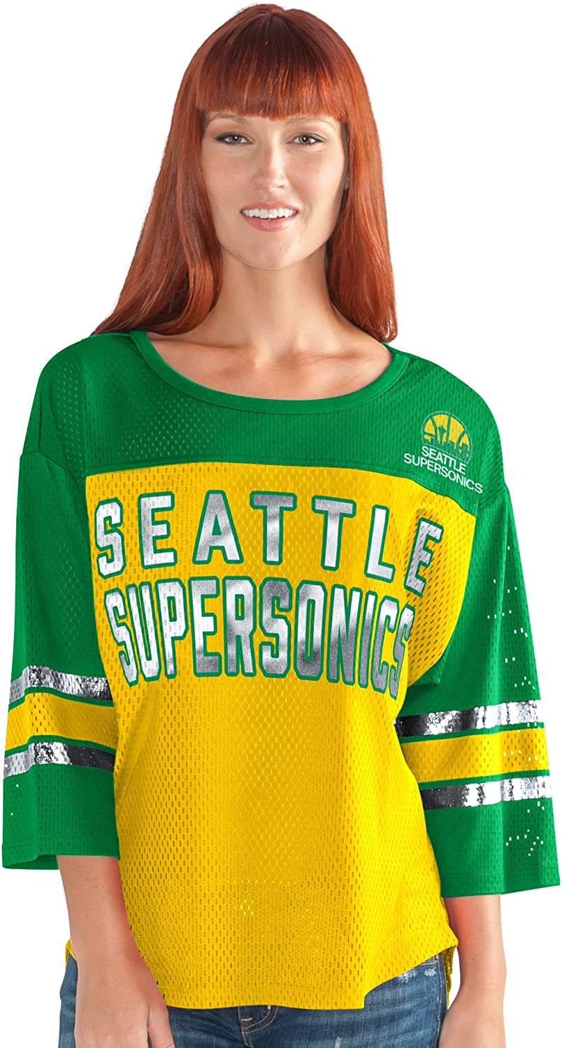 Gold//Green X-Large G-III Sports NBA Seattle Supersonics Womens First Team Mesh Top