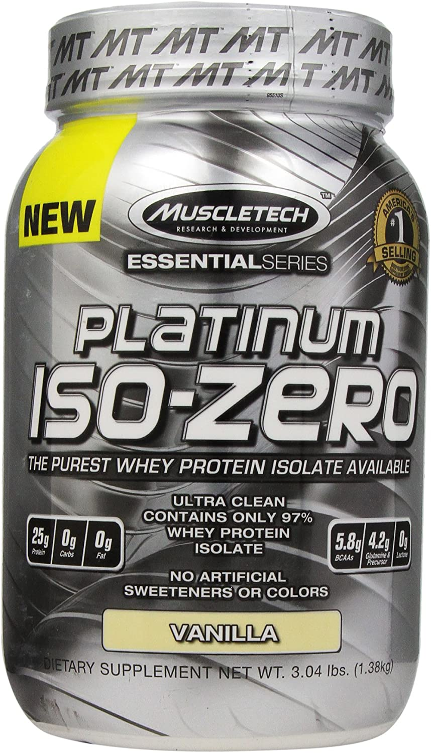 MuscleTech Platinum ISO Zero, The Purest Whey Protein Isolate Available, Vanilla, 3.04 lbs