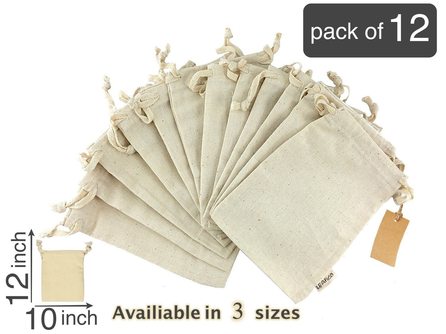 8239d73bbc Eco bags, Reusable Grocery Bags Multipurpose Muslin Bags With Drawstring |  Large 10x12 Inches, Sachet Bags, Canvas Bags, Vegetable and Bread Bags, ...
