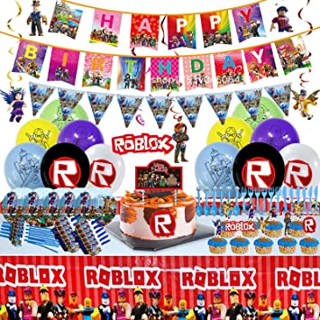 Spiral Ornaments Cake Topper Robot Blocks Birthday Party Favors Decorations for Kids Boys Girls with Balloons Table Cloth Cupcake Toppers Banner Plates Stickers 127 PCS Ro-Blox Party Supplies Blowing Dragons Forks