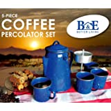 B&E Home Essential 5 Pieces Set Enamelware Percolator with 4 Cups