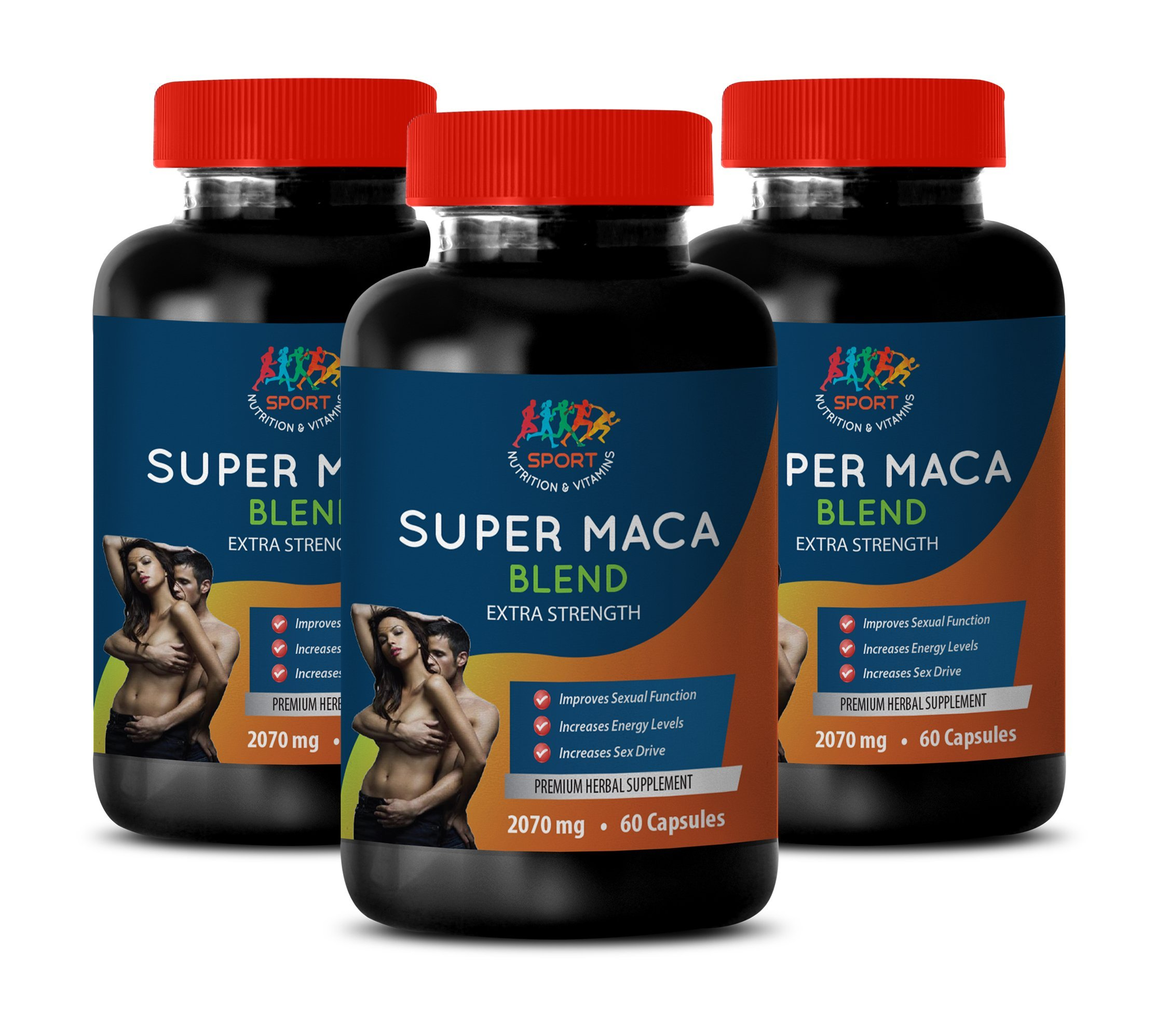 Male Testosterone Supplements - Super MACA Blend 2070 MG - Extra Strength - l-arginine and yohimbine - 3 Bottles 180 Capsules