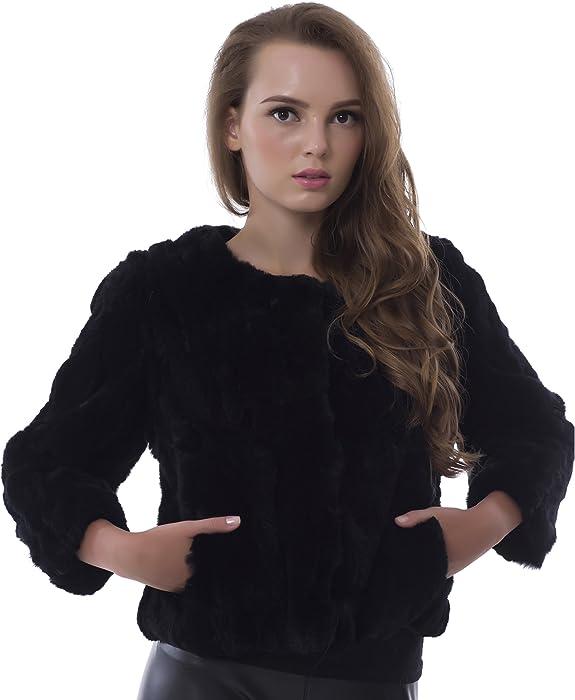 0a0f86e5d29 OBURLA Genuine Rex Rabbit Fur Ladies Coat