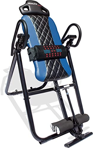 Health Gear HGI 4.2 Patent Pending Diamond Edition Heat Vibration Massage Inversion Table, Blue, Blue