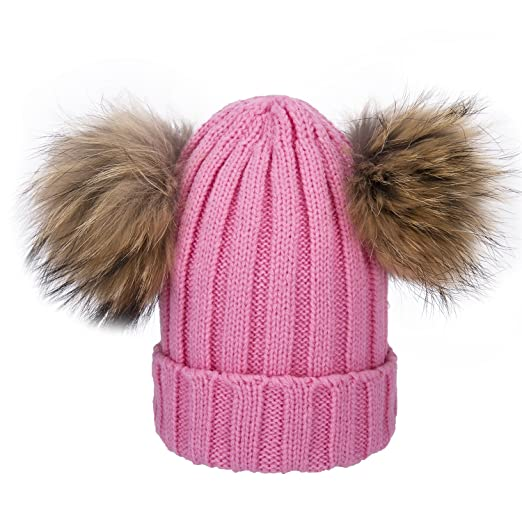 460574fbc85 Cute Baby Winter Hats Double Fur Pom Pom Girl Boy Childrens Keep Warm Hats  Raccoon Balls ...