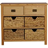 MissSnower Oak Console Table With Storage Baskets/Solid Wood Hall Table  Sideboard