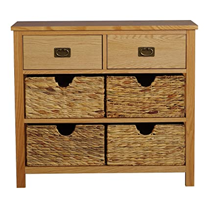 Misssnower Oak Console Table With Storage Basketssolid Wood Hall