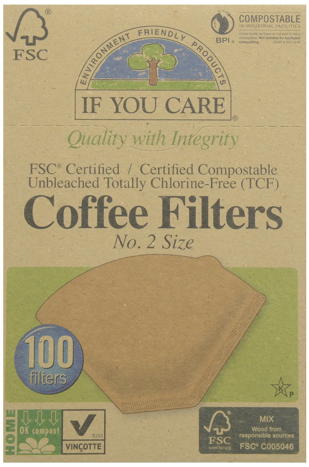 If You Care Coffee Filter No. 2 Size, Compostable, Unbleached, 100-count, 3-pack (300 Filters Total)