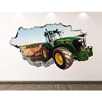 """West Mountain Green Tractor Wall Decal Art Decor 3D Smashed Truck Sticker Poster Kids Room Mural Custom Gift BL189 (30"""" W x 18"""" H): Home & Kitchen"""
