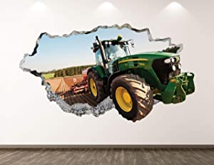 "West Mountain Green Tractor Wall Decal Art Decor 3D Smashed Truck Sticker Poster Kids Room Mural Custom Gift BL189 (30"" W x 18"" H)"