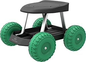 Pure Garden 82-VY021 Garden Cart Rolling Scooter with Seat and Tool Tray for We, 17.5x19, Green/Black